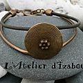 Côté antique et très chaleureux ! cuir bronze et cuir marron, passant rond strié 2,5 cm bronze, fermoir toggle bronze !