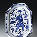 Octagonal dish of glazed earthenware decorated with figure of a man, persia, 17th century