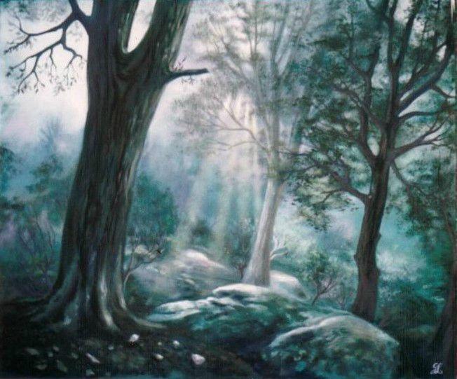 La forêt de Brocéliande - Rayon de lumière à travers les arbres - Ghislaine Letourneur Peinture Huile sur papier - The forest of Broceliande