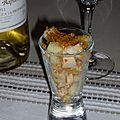 Verrine de foie gras aux poires et pain d'épices
