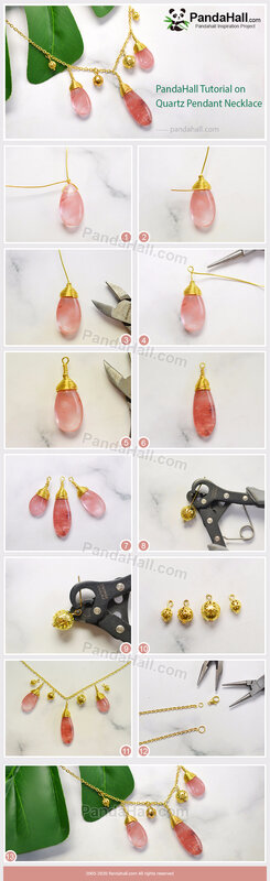 6-PandaHall Tutorial on Quartz Pendant Necklace(长)