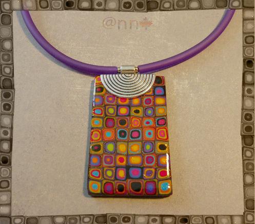 Collier multi multicolore rectangle sur métal (N)