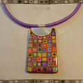 Collier multi multicolore rectangle sur métal (N)