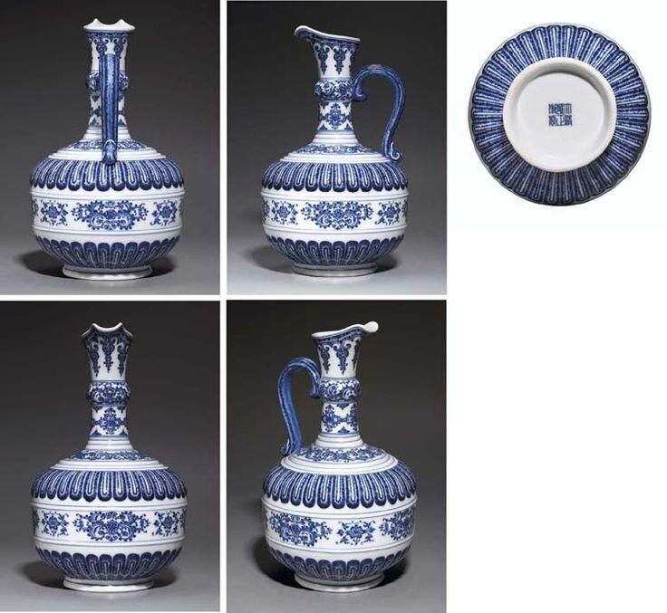 A very rare and important blue and white ewer, huajiao , underglaze blue Yongzheng six-character sealmark and of the period (1723-35). Photo Christie's Image Ltd 2006