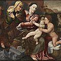 Ecole flamande du xvième siècle, atelier de jan massys, la sainte famille avec sainte anne et saint jean baptiste