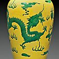 A yellow and green-glazed 'Dragon' meiping, 19th century