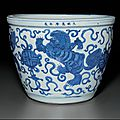 A very rare blue and white jardinière, Wanli six-character mark in underglaze blue in a line and of the period (1573-1619)
