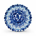 A blue and white petal-molded dish, Wanli period (1573-1619)