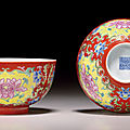 A pair of famille rose coral-ground bowls, daoguang seal marks in underglaze blue and of the period (1821-1850)