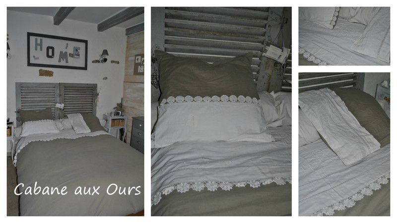 housse de couette avec linge ancien la cabane aux ours. Black Bedroom Furniture Sets. Home Design Ideas