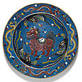 A large chinese cloisonné enamel 'mythical beast' basin, ming dynasty