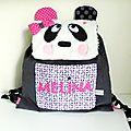 Sac à dos maternelle personnalisé panda Mélina