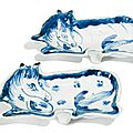 A pair of blue and white kosometsuke 'horse' dishes, ming dynasty, tianqi period (1621-1627)