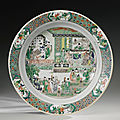A famille-verte 'four accomplishments' basin, qing dynasty, kangxi period (1662-1722)