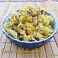 Courge spaghetti poêlée, avec riz et champignons