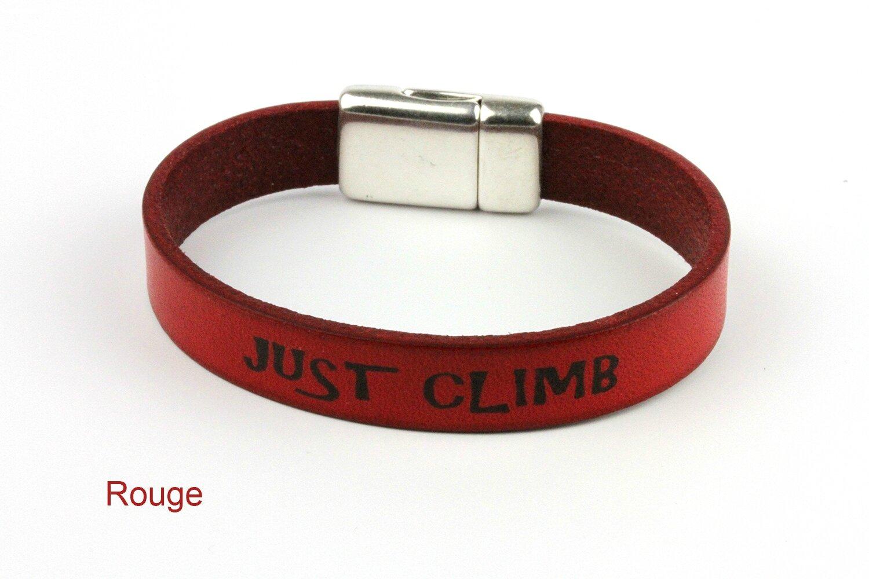 bracelet cuir escalade rouge