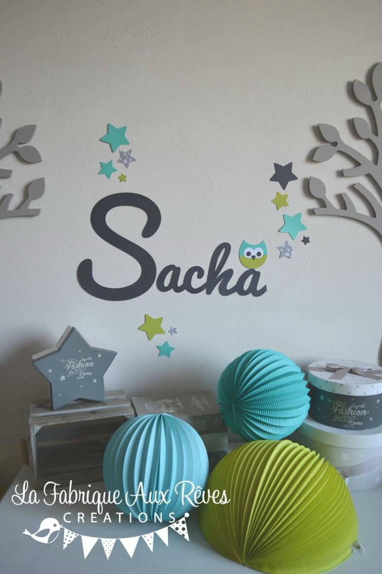Stickers pr nom gar onhibou toiles turquoise vert anis gris hibou d coration chambre gar on - Stickers chambre garcon ...