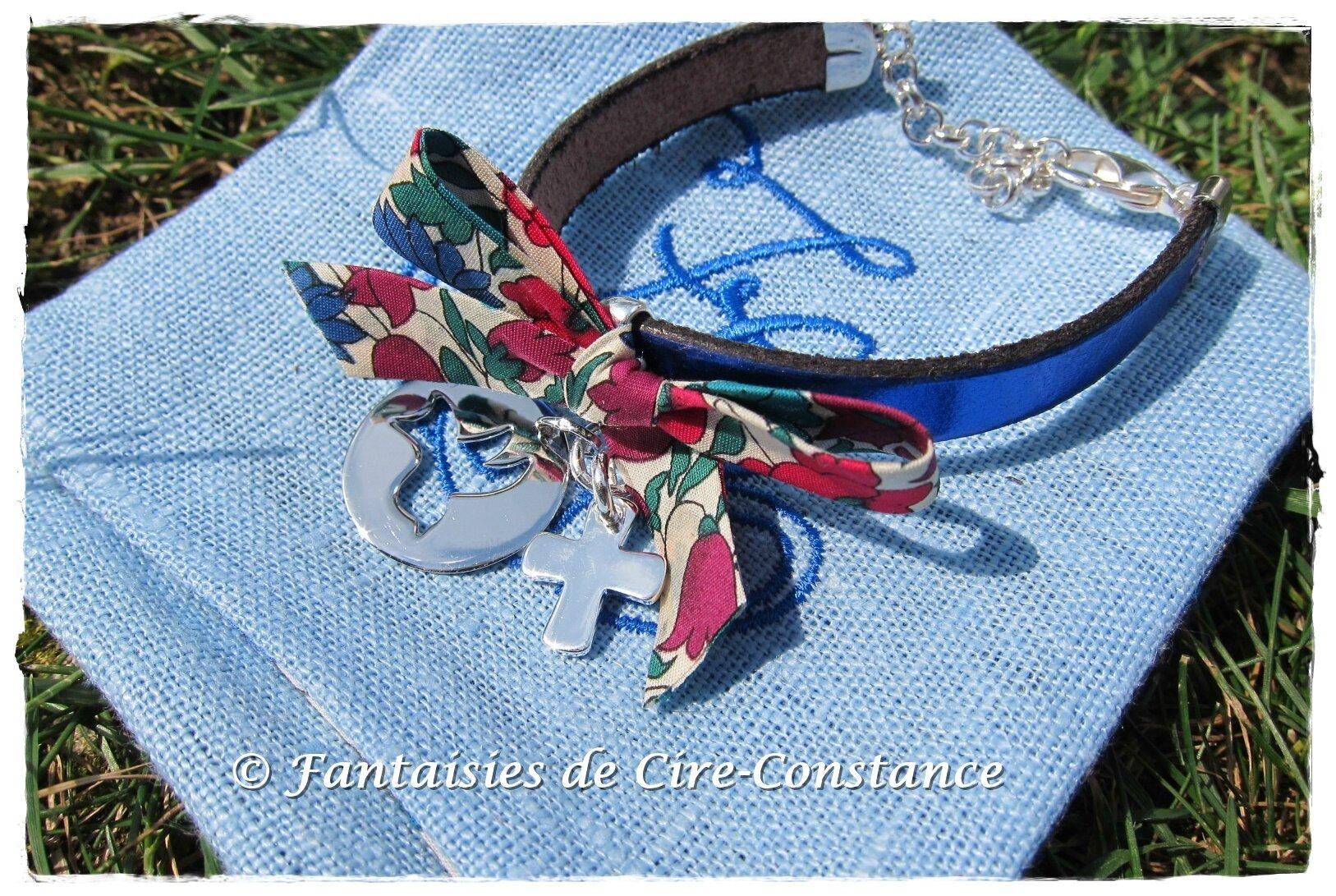 Bracelet Diane bleu roi médailles argent