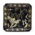 A mother-of-pearl-inlaid black lacquer square dish, late yuan-early ming dynasty, 14th-15th century