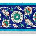 An iznik pottery border tile, turkey, circa 1580