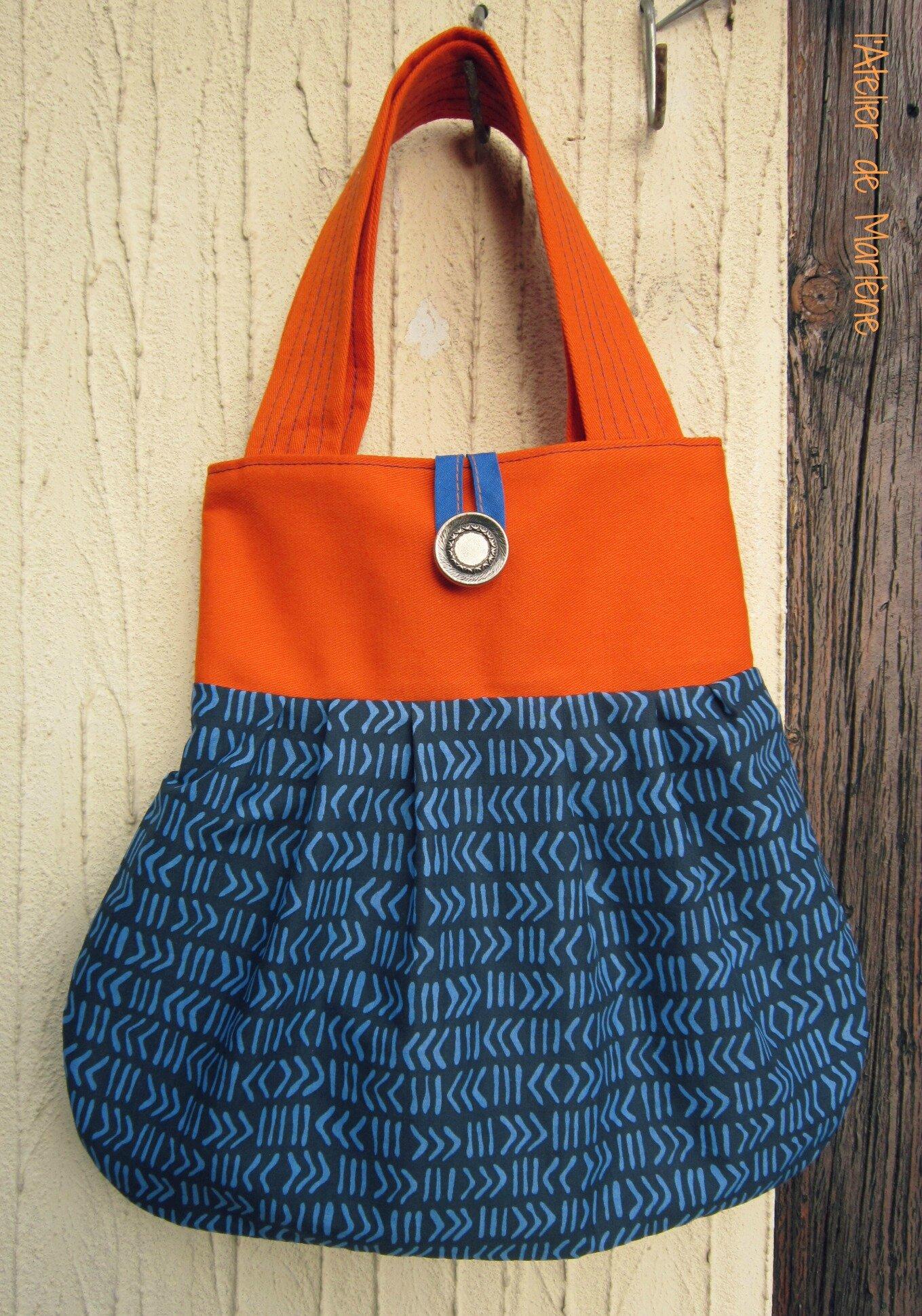 3 - sac orange et bleu été