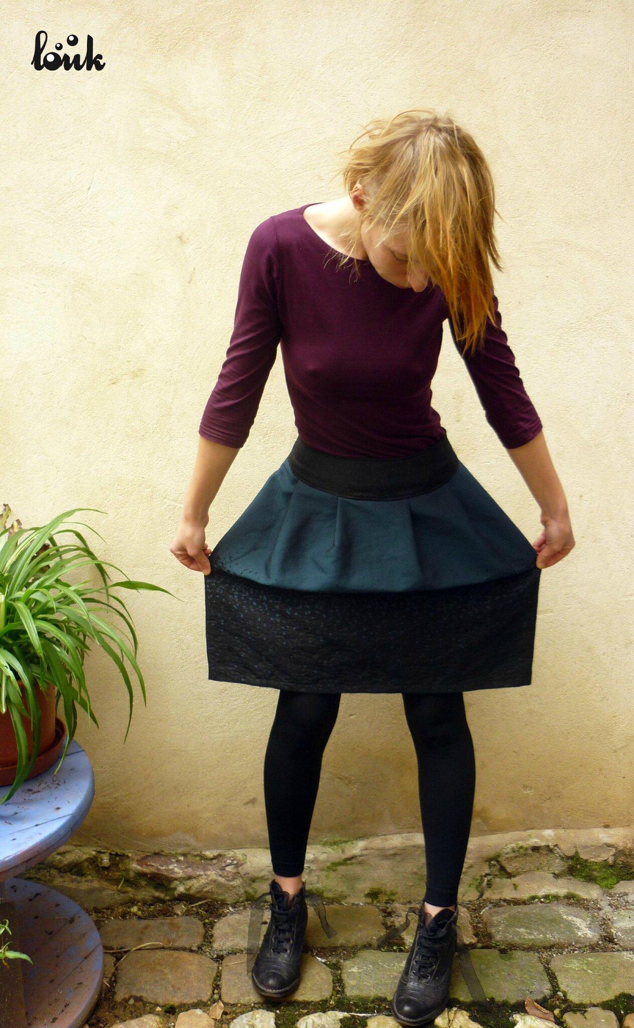 Jupe à plis en lainage mélangé