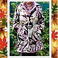 Manteau douillet en rose et mauve