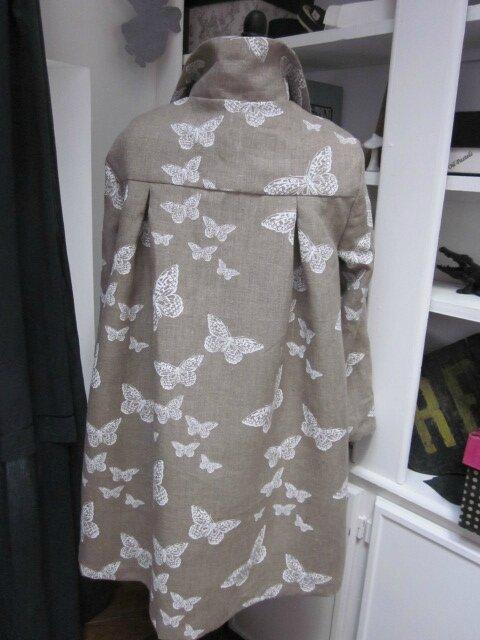 Manteau en lin brut imprimé papillon écru - noeud de lin écru (7)