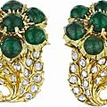 Buccellati. a unique pair of diamond and emerald earclips, 1970