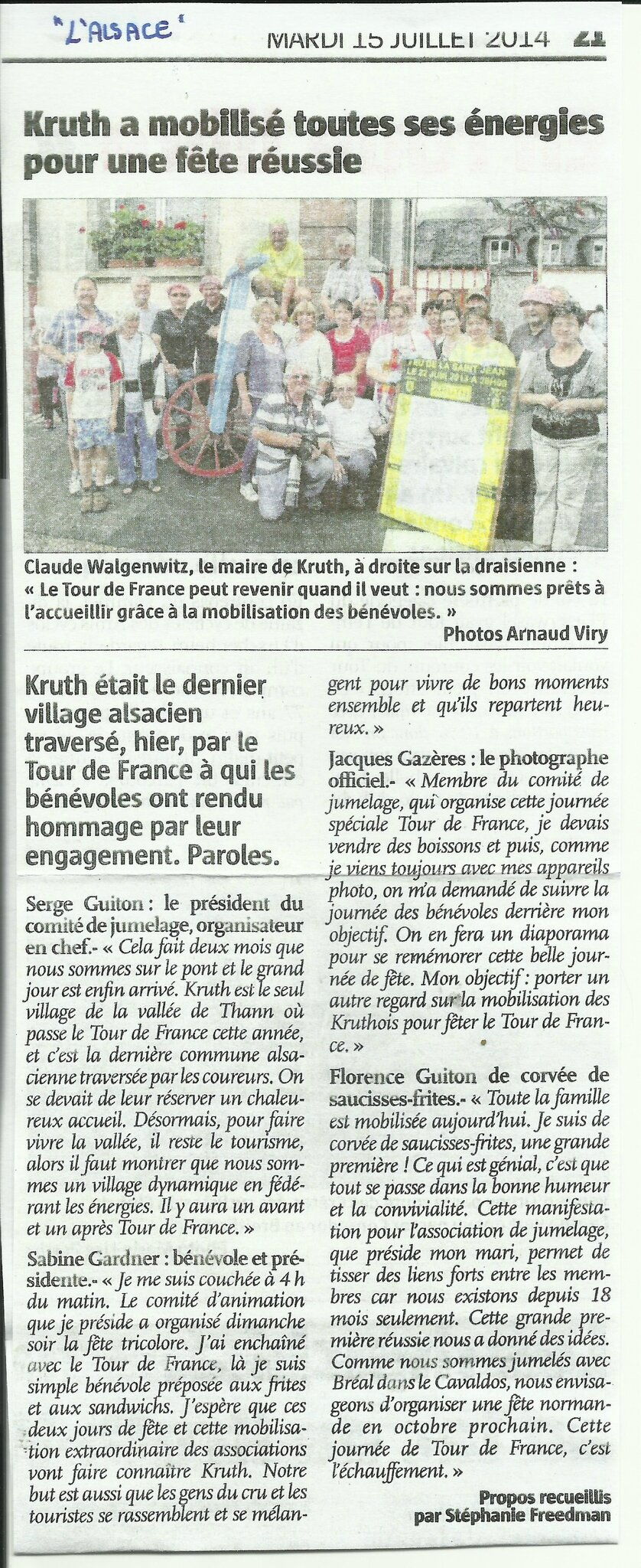 LE PASSAGE DU TOUR DE FRANCE A KRUTH UN SUPERBE EVENEMENT LE 14 JUILLET 2014