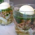Verrine fonds d'artichaut, crevettes grises en gelée et oeuf mollet