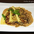 Lasagnes de foie gras poêlé aux morilles