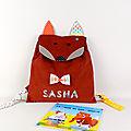 Sac à dos personnalisé enfant renard sac bébé prénom Sasha