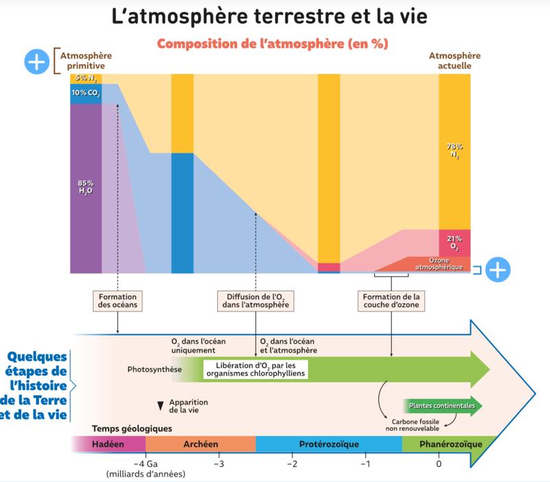schéma expliquant la variation de la composition atmosphérique
