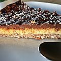 Tarte aux flocons d'avoine banane ,chocolat et noix de coco (sans gluten)