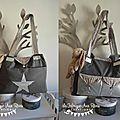 VENDU - grand sac à langer bébé fashion moderne nombreux rangements poches thème étoiles gris taupé argenté 4