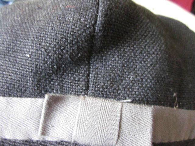 chapeau en lin noir avec noeud plat et ruban gris (3)