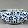 Blue-and-white bowl with the design of interlocking sprays, Hongwu Period(1368-1398)