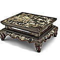 A ryukyuan mother-of-pearl-inlaid black lacquer rectangular low table, kang, 17th-18th century