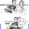 Dessins recto verso pour un faire-part de mariage