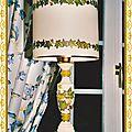 Pied de Lampe et Abat-jour Déco serviettes collées lierre (2005)