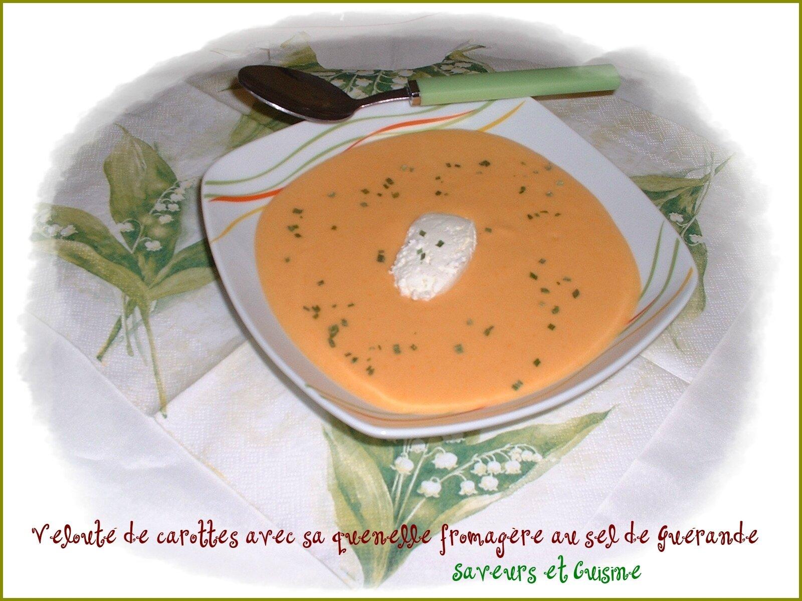 Velouté de carottes et sa quenelle fromagère au sel de Guérande