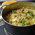 Risotto courge butternut, lomo et fourme d'ambert