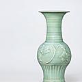 A moulded Longquan celadon vase, Yuan dynasty (1279-1368)