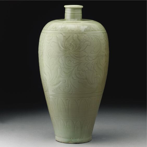 A 'Longquan' celadon carved vase, meiping, Northern Song Dynasty