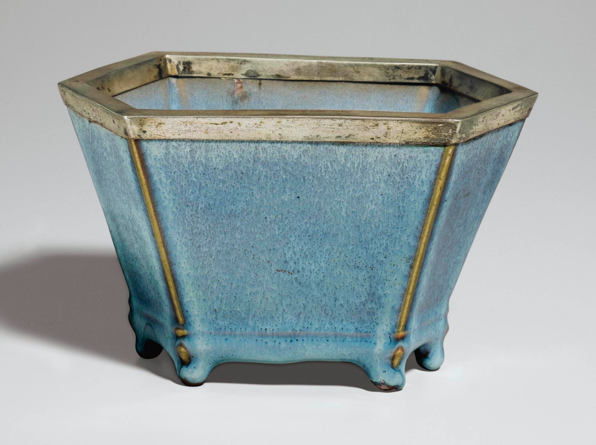A very rare 'numbered' Junyao hexagonal flower pot, Yuan-early Ming dynasty, 14th-15th century