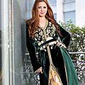 Caftan marocain d'élevée couture: tissu velours