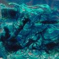 vitrail de fibres turquoise