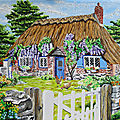 An English Cottage a ma sauce, oil on canvas 30 x 40 cms