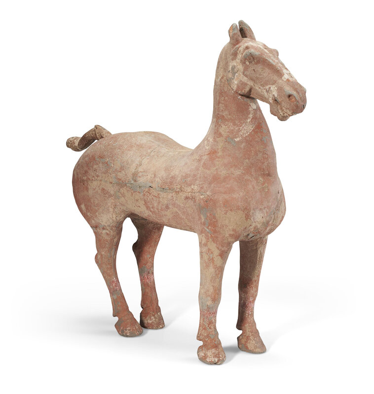 A large painted pottery figure of a horse, Han dynasty (206 BC-AD 220)